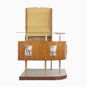 Mueble bar italiano con estante de pared, años 50. Juego de 3