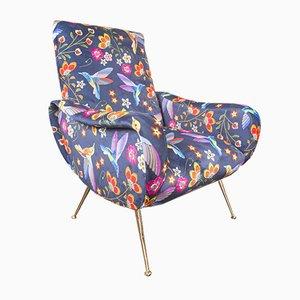 Zanuso Style Water-Resistant Velvet Armchair, 1970s