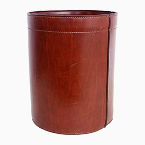 Leather Wastepaper Basket, 1950s