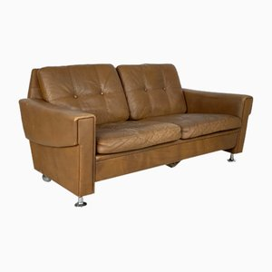 Tan Leather Sofa, 1970s