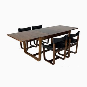 Rosewood Dining Table and Leather Chairs by Gunther Hoffstead for Uniflex, 1960s, Set of 5