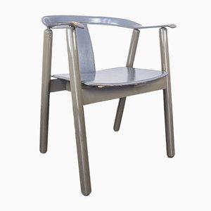 Lackierte Stühle aus Holz & Leder, 1980er, 4er Set