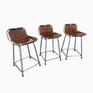 Mid-Century Steel and Leather Les Arcs Stools by Charlotte Perriand, 1960s, Set of 3