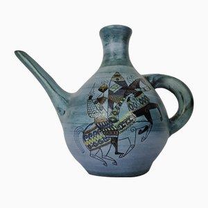 Annaffiatoio in ceramica blu con disegno Knight di Jean De Lespinasse, anni '60