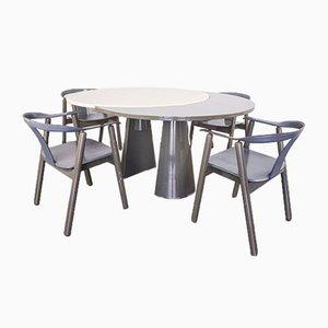 Table et 4 Chaises en Bois, 1980s