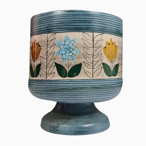 Blue Ceramic Cache Pot with Flower Design by Jean De Lespinasse, 1960s
