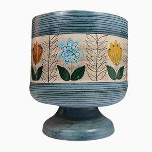 Vaso Cache in ceramica blu con disegno floreale di Jean De Lespinasse, anni '60