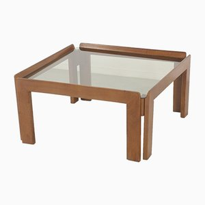 Mid-Century Italian Walnut and Smoked Glass Coffee Table by Tobia & Afra Scarpa