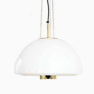 Deckenlampe aus Opalglas & Messing von Glashütte Limburg, 1960er