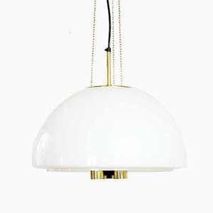 Opaline and Brass Ceiling Lamp from Glashütte Limburg, 1960s