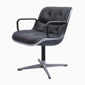 Chaise de Direction en Cuir Noir par Charles Pollock pour Knoll Inc. / Knoll International