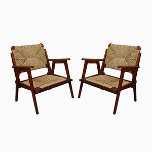 Armlehnstühle aus Eiche & Stroh, 1950er, 2er Set