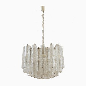 Italian Frosted Murano Glass Chandelier with Hexagonal Shades by Paolo Venini, 1960s