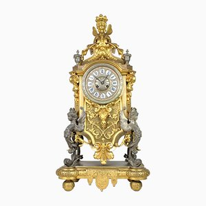 Large Regency Style Bronze Clock with Double Patina, 19th Century