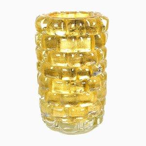 Jarrón de vidrio con pan de oro de 24 quilates de pared de cristal de Murano, 2021