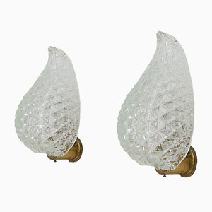 Italian Wall Lamps with Leaf-Shaped Murano Glass Shades from Barovier & Toso, 1950s, Set of 2