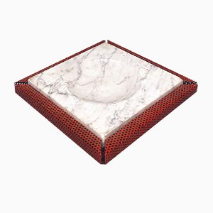 Italian Red Marble and Micro-Perforated Metal Ashtray, 1980s
