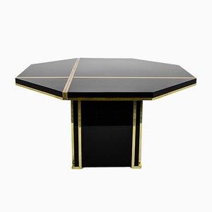 Table de Salle à Manger Vintage Noire en Laiton par Jean Claude Mahey pour Roche Bobois