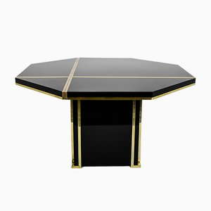 Vintage Black and Brass Dining Table by Jean Claude Mahey for Roche Bobois