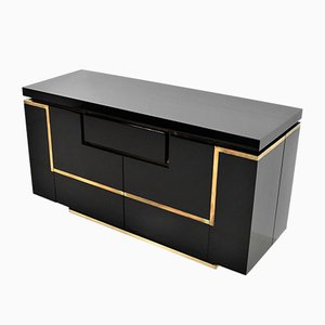 Black Lacquer and Brass Sideboard by Jean Claude Mahey for Maison Jansen, 1970s