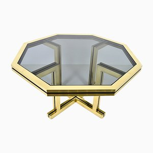Vintage Octagonal Brass Dining Table by Maison Jansen