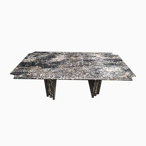 Large Vintage Black Marble Dining Table