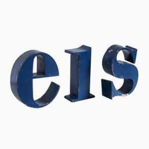 Juego de letras EIS o SIE francesas industriales, años 50. Juego de 3