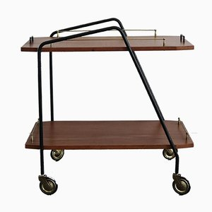 Italian Teak and Metal Serving Trolley, 1950s