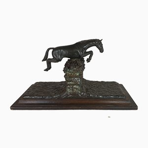 Bronze Art Object Depicting Steeplechase by Piga, 20th Century
