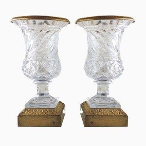 Jarrones Medici vintage de bronce y cristal, finales del siglo XIX. Juego de 2