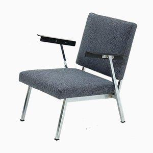 Industrieller Armlehnstuhl aus Verchromten Stahl & Schichtholz, 1950er