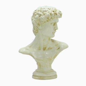 Large Decorative Plaster Michelangelos David Bust, 1980s