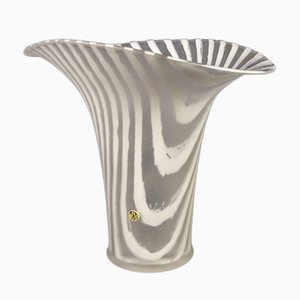 White Striped Glass Vase by Peill & Putzle, 1970s