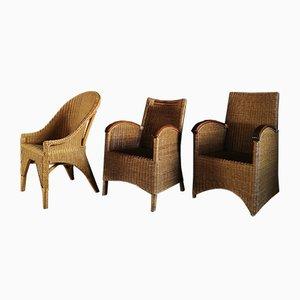 Italienische Rattan Stühle, 1970er, 3er Set