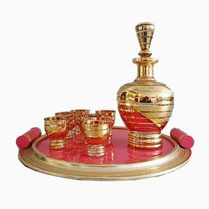 Monaco Gold Pink & Glass Tableware Set, 1960s, Set of 8