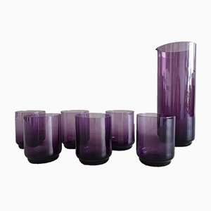 Amethyst Glass Carafe with Glasses, 1960s, Set of 7