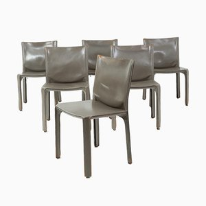 Gray Leather Model Cab Dining Chairs by Mario Bellini for Cassina, 1970s, Set of 6
