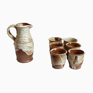 Juego de bebidas italiano vintage de cerámica de Giancarlo Scapin, 1978. Juego de 7