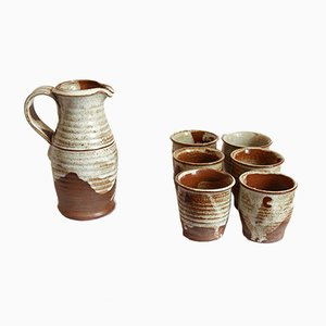 Vintage Italian Ceramic Drinking Set by Giancarlo Scapin, 1978, Set of 7