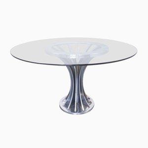 Tavolo da pranzo vintage in vetro e metallo cromato, anni '70