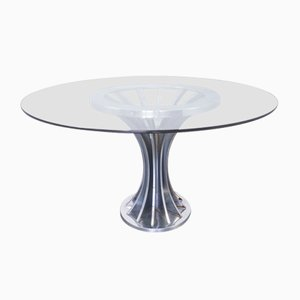 Vintage Glass & Chrome Dining Table, 1970s