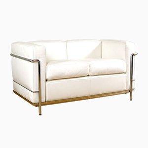 Weißes Leder LC 2 Sofa von Le Corbusier für Cassina, 1990er
