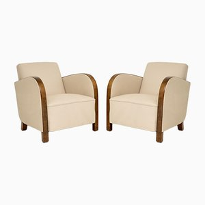 Swedish Art Deco Satin Birch Armchairs , Set of 2