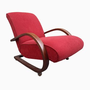 Art Deco Red Velvet & Wood Lounge Chair by Josef Hoffmann for Ritappezzata, 1940s