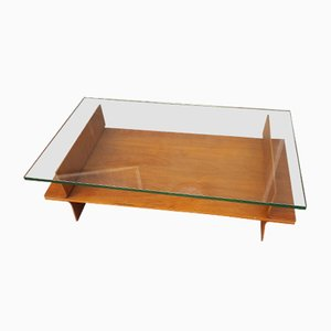 Tavolino da caffè in compensato e vetro di Campo E Graffi, anni '50