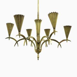 Art Deco Messing Kronleuchter von Dagobert Peche, 1920er