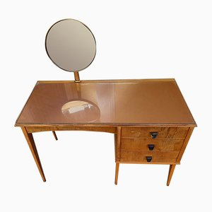 Mid-Century Wood & Glass Dressing Table, 1950s