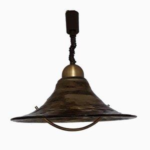 Braune Vintage Messing Deckenlampe aus Metall von Hustadt Leuchten, 1980er