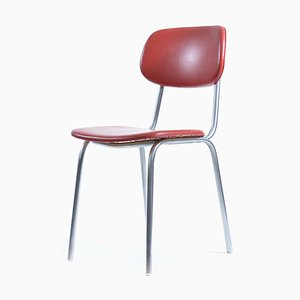 Mid-Century Czech Red Leather & Chrome Chair from Kovona, 1960s