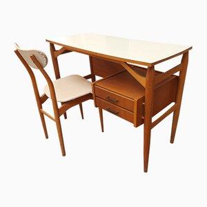 Weißer Laminat Schreibtisch mit Stuhl aus Mahagoni, 1950er, 2er Set